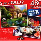 Garden Cottage / Tabby Kitten Sleeping in Bowl - Total 480 Piece 2 in 1 Jigsaw Puzzles p015