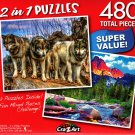 Three Wolves / Tetons Alpenglow, Grand Tetons - Total 480 Piece 2 in 1 Jigsaw Puzzles p015