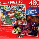 American Sticker Collage / Summer Firework Festival - Total 480 Piece 2 in 1 Jigsaw Puzzles p015
