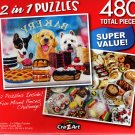 Waiting by the Window / Sweet Treats - Total 480 Piece 2 in 1 Jigsaw Puzzles p015