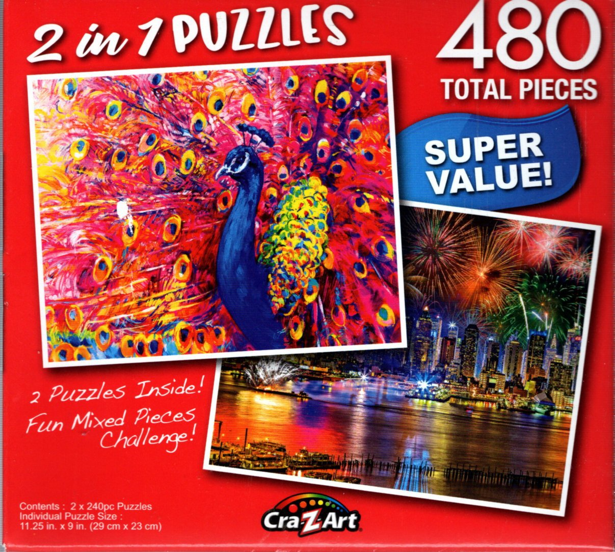 Bright Pink Peacock / Fireworks on the Hudson River - Total 480 Piece 2 in 1 Jigsaw Puzzles p015