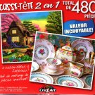 Dream Cottage Retreat / Vintage Pink and Blue Tea Cup  - Total 480 Piece 2 in 1 Jigsaw Puzzles p015