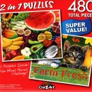 Fresh Fruits / Tabby Kittens  - Total 480 Piece 2 in 1 Jigsaw Puzzles - p015