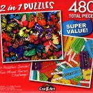 Butterflies lll / Summer Popscicles  - Total 480 Piece 2 in 1 Jigsaw Puzzles - p015