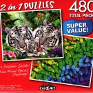 White Tiger Family / Rainbow Butterflies  - Total 480 Piece 2 in 1 Jigsaw Puzzles - p015