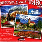 Full Steam Ahead / Brienz Townand Flowers  - Total 480 Piece 2 in 1 Jigsaw Puzzles - p015
