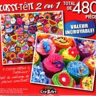 Yummy Stickers / Colorful Cupcakes  - Total 480 Piece 2 in 1 Jigsaw Puzzles - p015