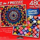 Colorful Mandala Art / Colourful Dice  - Total 480 Piece 2 in 1 Jigsaw Puzzles - p015