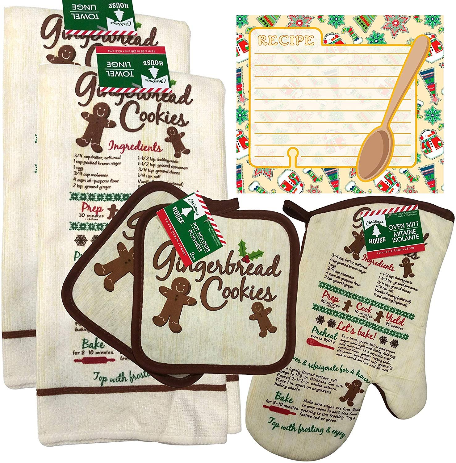 Christmas - Holiday Baking Kitchen Linen Set (6 Piece) - (Style 06)