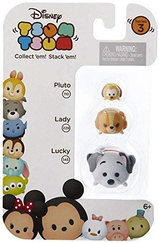 "Disney Tsum Tsum Series 3 Pluto, Lady & Lucky 1"" Minifigure 3-Pack r011"