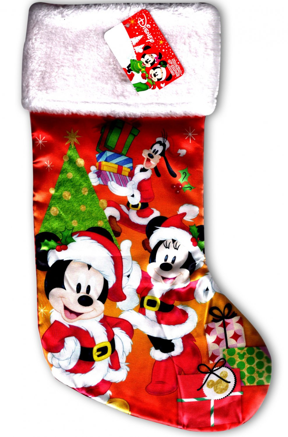 """Disney Minnie & Mickey Mouse - 18"""" Full Printed Christmas Stocking with Plush"""