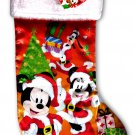 "Disney Minnie & Mickey Mouse - 18"" Full Printed Christmas Stocking with Plush"