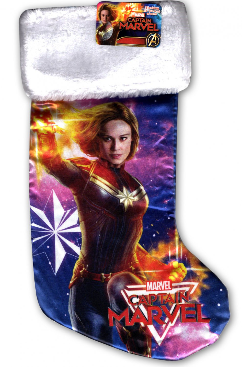 """Avengers Captain Marvel - 18"""" Full Printed Christmas Stocking with Plush Cuff"""