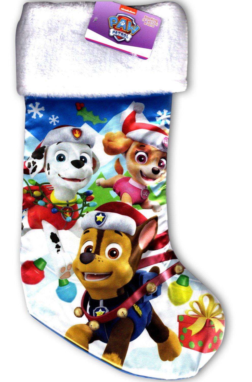 "Nickelodeon Paw Patrol - 18"" Full Printed Satin Christmas Stocking with Plush"