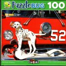 Dalmatian Dog Standing in Front of Red Firetruck - 100 Pieces Jigsaw Puzzle