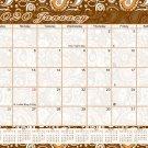 2020 Magnetic 12 Months Desk Calendar - Desktop/Wall Calendar/Planner - (Brown Paisley #15)