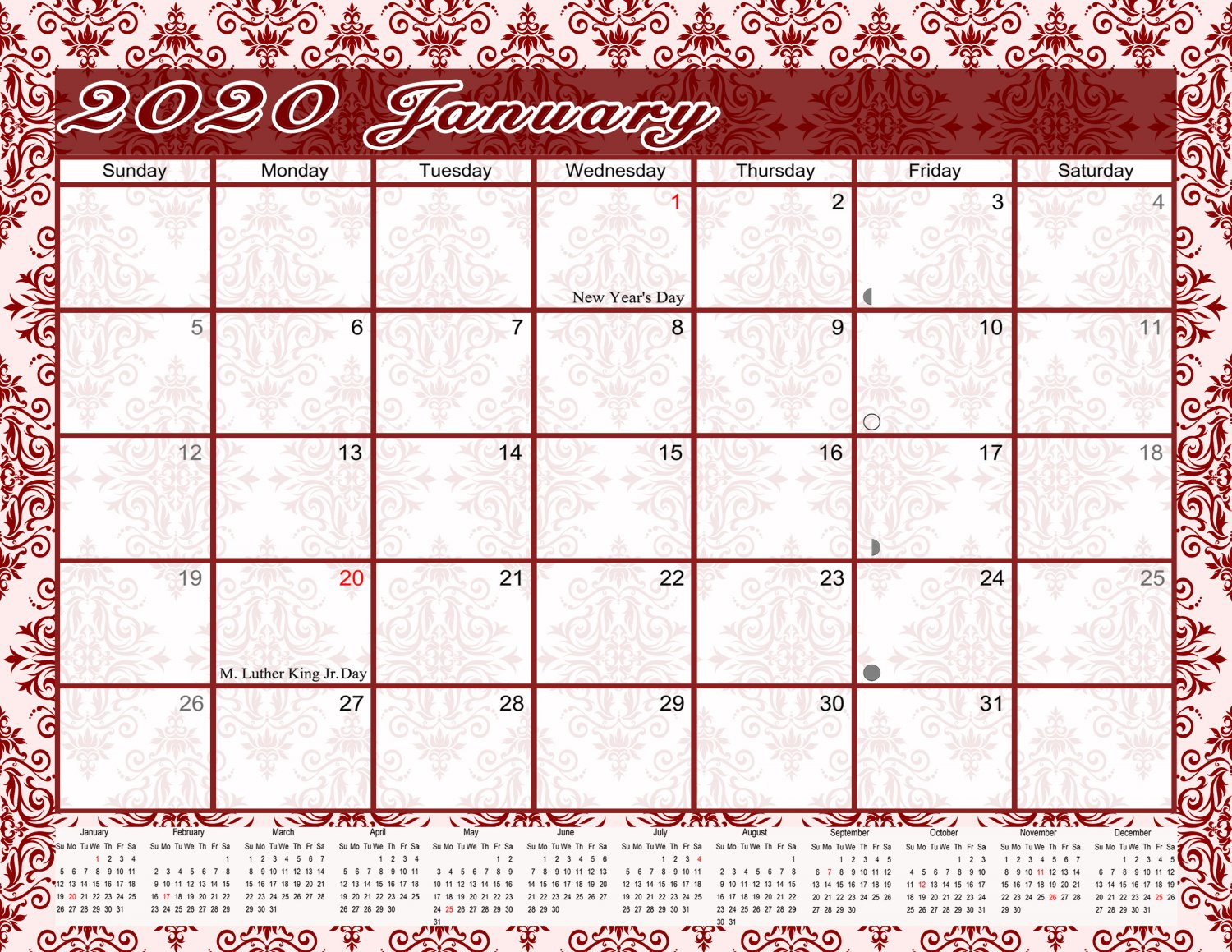 2020 Monthly Magnetic/Desk Calendar/Wall Calendar / - 12 Months Planner - (Damask Edition #23)