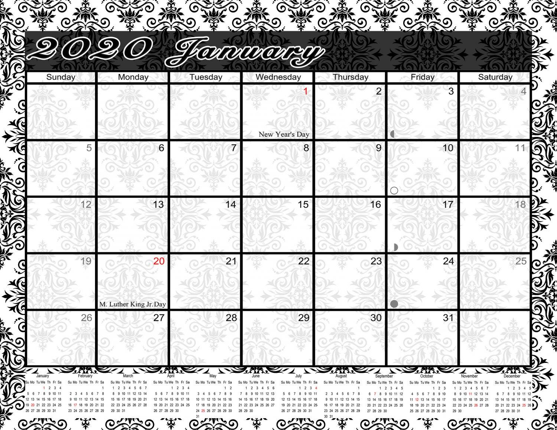 2020 Monthly Magnetic/Desk Calendar - 12 Months Desktop/Wall Calendar/Planner - (Damask Edition #17)