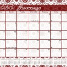 2020 Monthly Magnetic/Desk Calendar - 12 Months Desktop/Wall Calendar/Planner - (Damask Edition #16)