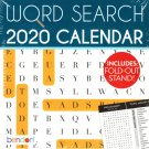 Word Search - 2020 Desk Calendar Planner - Includes Fold - Out Stand
