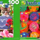 Bright Cupcakes and Bucket Kittens - 100 Pieces Jigsaw Puzzle (Set of 2)