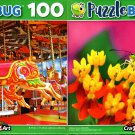 Colorful Carousel Horse and Yellow Grass Butterfly - 100 Pieces Jigsaw Puzzle (Set of 2)
