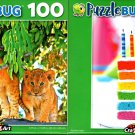 Rainbow Cake and Cute Lion Cub in a Tree - 100 Pieces Jigsaw Puzzle (Set of 2)