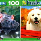 Mommy and Baby Hippo and Besties - 100 Pieces Jigsaw Puzzle (Set of 2)