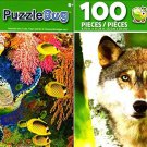 Grey Wolf and Hawksbill Sea Turtle, Fijian Island - 100 Pieces Jigsaw Puzzle (Set of 2)