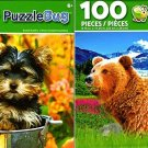 Grizzly Cub and Mom and Bucket Buddies - 100 Pieces Jigsaw Puzzle (Set of 2)
