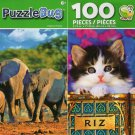 Elephant Family and Tabby Tins - 100 Pieces Jigsaw Puzzle (Set of 2)