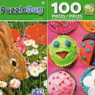 Bunny Rabbit and Cute Cupcakes - 100 Pieces Jigsaw Puzzle (Set of 2)