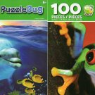 Red Eyed Tree Frog and Happy Dolphin - 100 Pieces Jigsaw Puzzle (Set of 2)