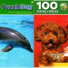 Poodle Duo and Mother and Baby Dolphin - 100 Pieces Jigsaw Puzzle (Set of 2)