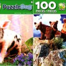 Little Pink Piglet and Grizzly Bear Mother and Cubs - 100 Pieces Jigsaw Puzzle (Set of 2)