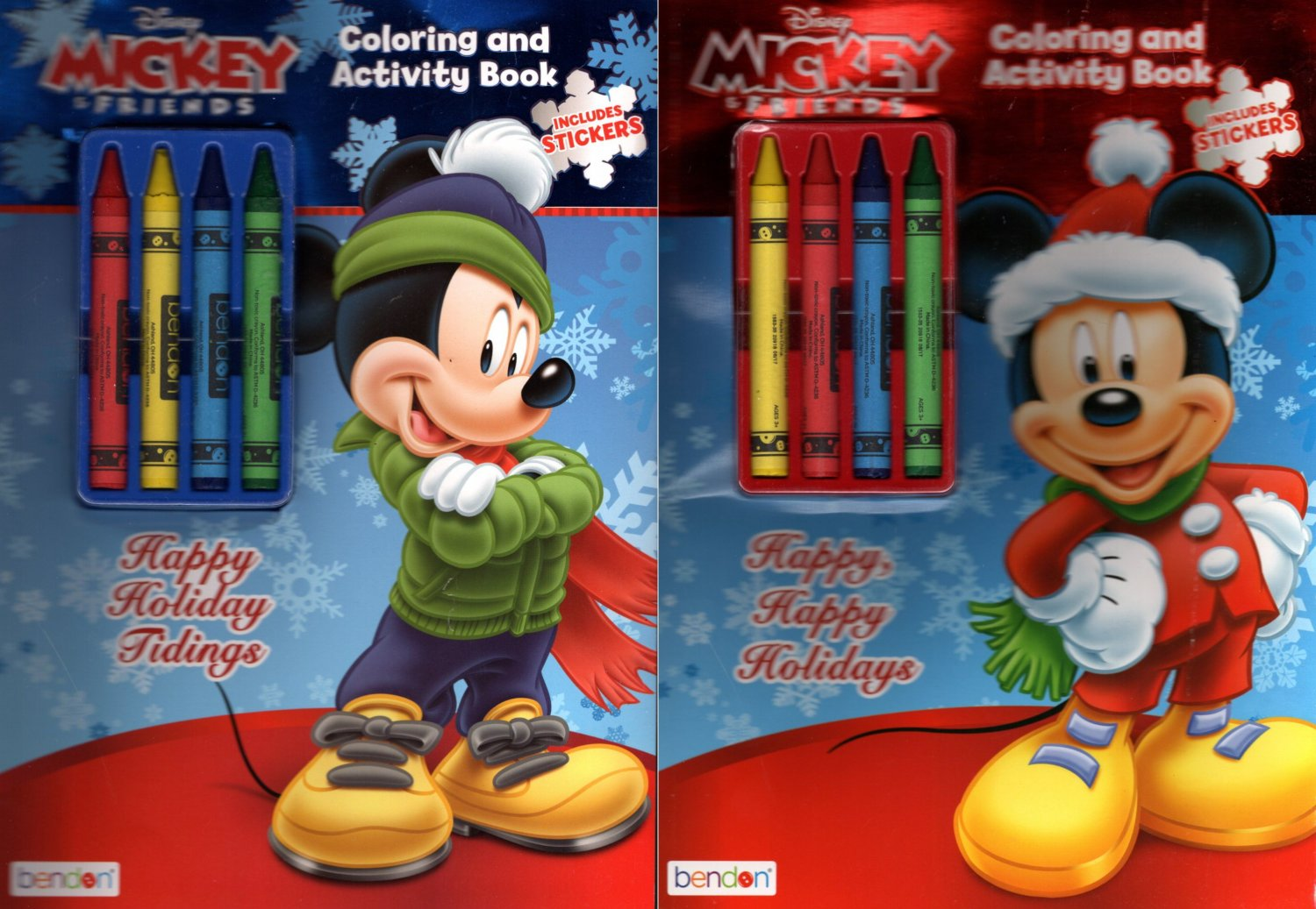 Disney Mickey - Christmas Edition Holiday - Coloring & Activity Book - Includes Stickers Set of 2