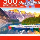 Sunrise on Moraine Lake with Colorful Canoes, Banff National Park - 500 Pieces Jigsaw Puzzle