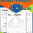 Cut, Trace, and Paste Alphabet & Numbers - Reproducible Educational Workbook (v1) - Grades Pre-K - K