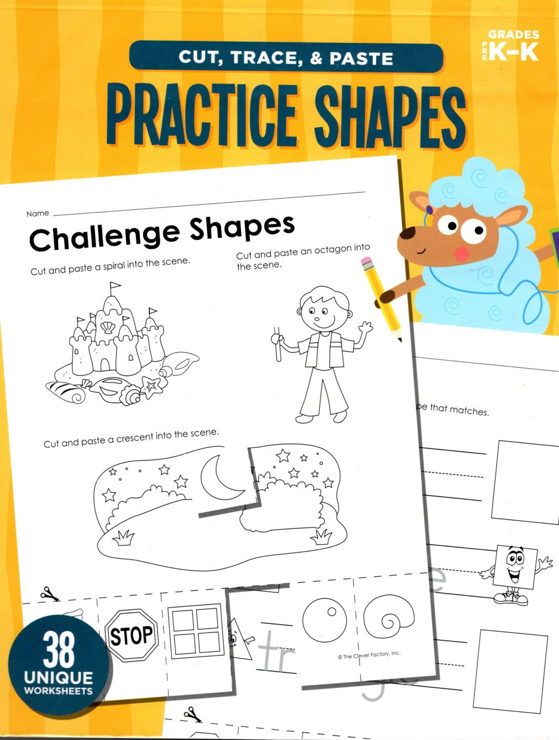 Cut, Trace, and Paste Practice Shapes - Reproducible Educational Workbook - Grades Pre-K - K