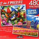 Friendly Birds / Traditional Old Buildings - Total 480 Piece 2 in 1 Jigsaw Puzzles - p004
