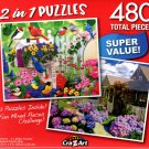 Weekly Garden Gathering / Cape Cod Summer Day - Total 480 Piece 2 in 1 Jigsaw Puzzles - p004