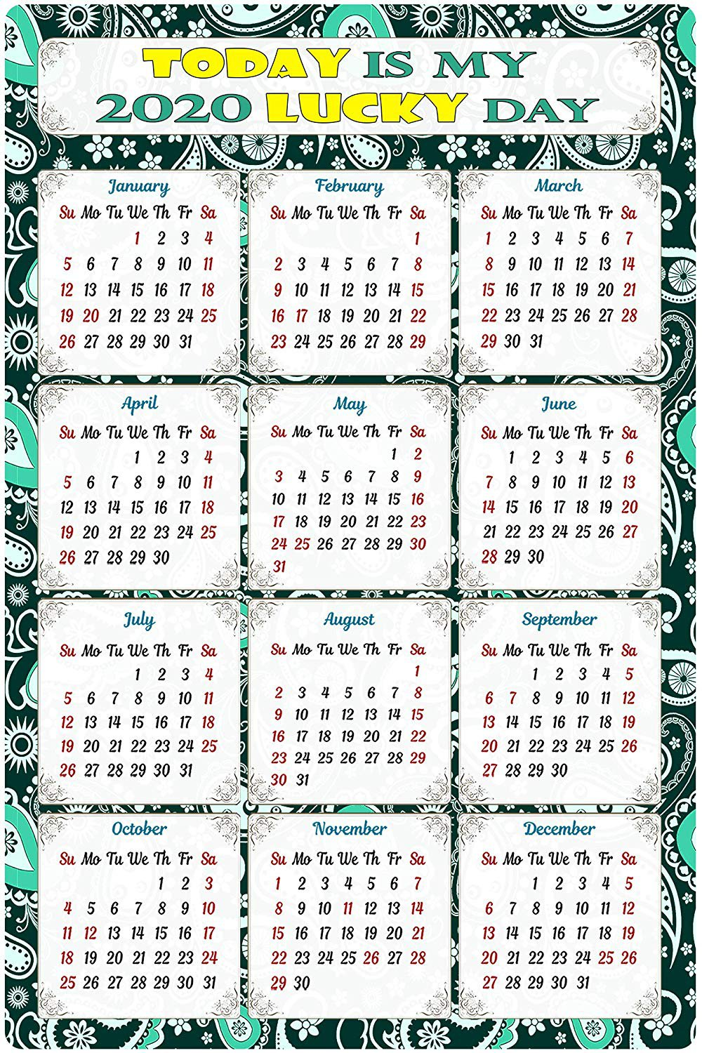 2020 Magnetic Calendar - Calendar Magnets - Today is My Lucky Day - Edition #TN06