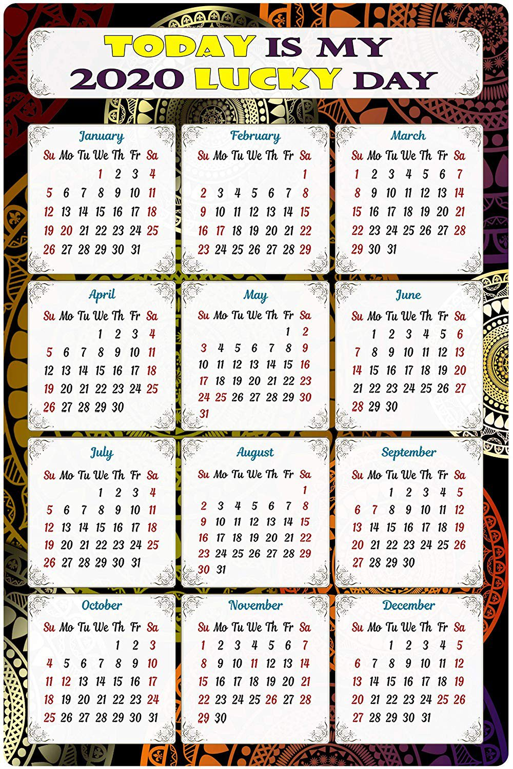 2020 Magnetic Calendar - Calendar Magnets - Today is My Lucky Day - Edition #TN07