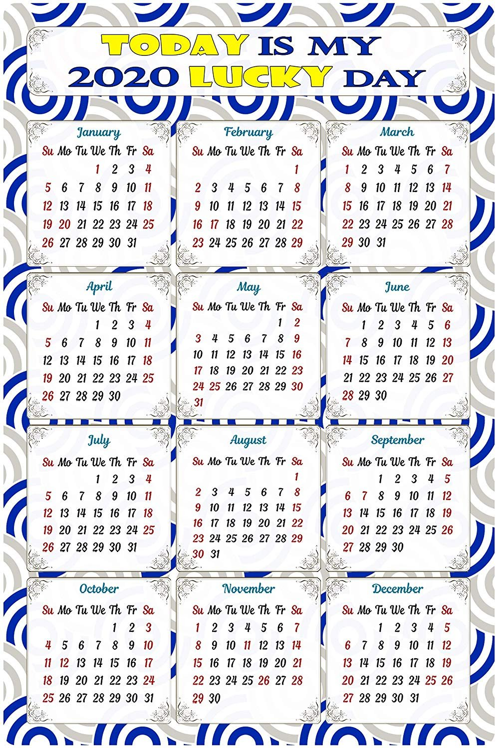 2020 Magnetic Calendar - Calendar Magnets - Today is My Lucky Day - Edition #TN08