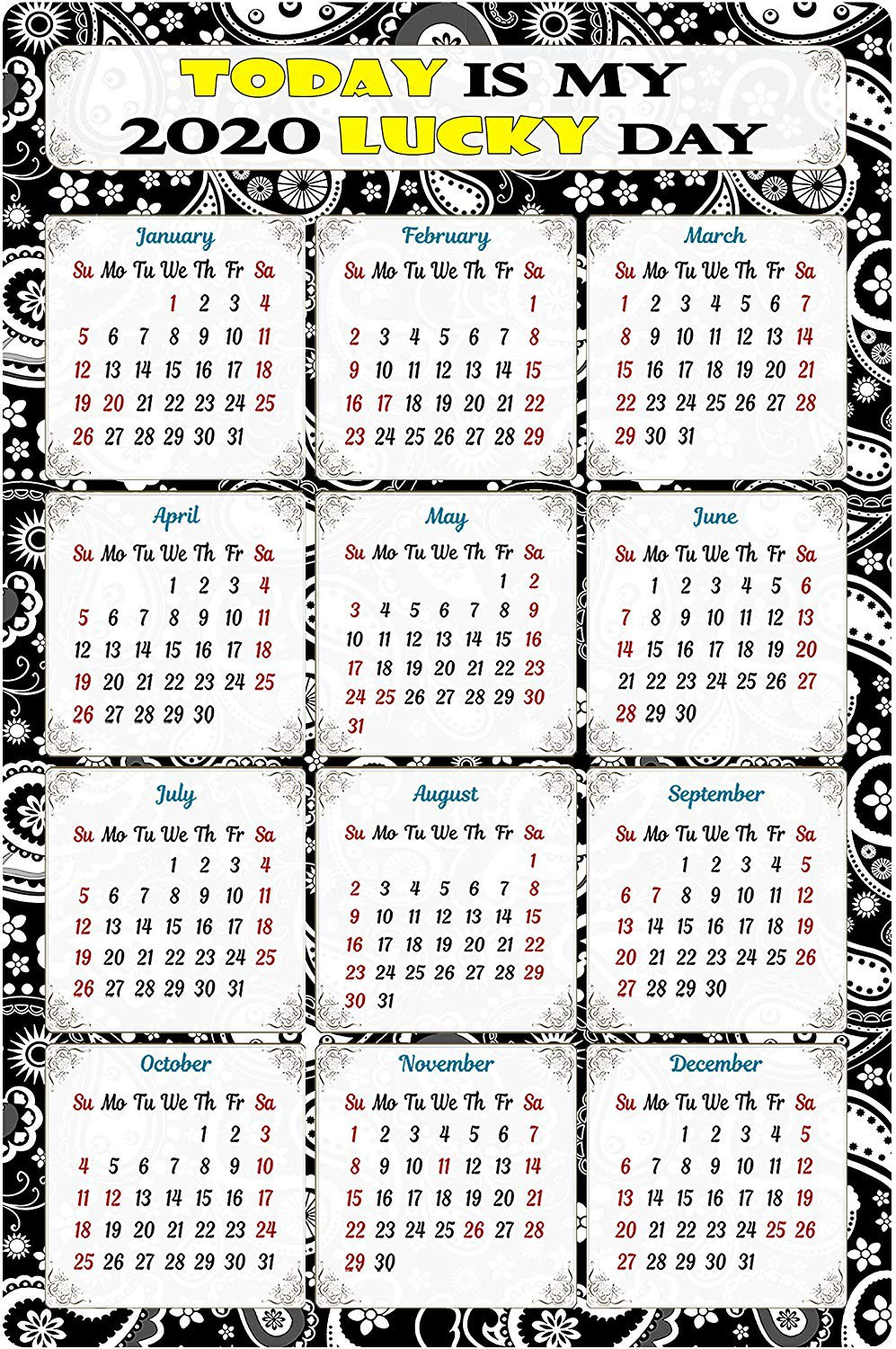 2020 Magnetic Calendar - Calendar Magnets - Today is My Lucky Day - Edition #TN011