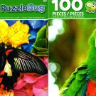 Pretty Green Parrot & Beautiful Butterfly - 100 Piece Jigsaw Puzzle (Set of 2)