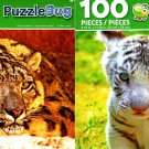 Snow Leopard & White Baby Tiger - 100 Piece Jigsaw Puzzle (Set of 2)