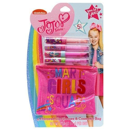 Jojo Siwa 5 Pieces Set include 4 Flavored Lip Glosses & Cosmetic Bag for Girls  (bu004)