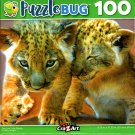 Two Lion Cubs Playing - 100 Pieces Jigsaw Puzzle