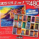 Boats and Old Houses / Colorful Windows - Total 480 Piece 2 in 1 Jigsaw Puzzles - p004